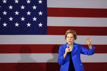 Democratic presidential candidate Sen. Elizabeth Warren, D-Mass., speaks to students and staff at Ro...