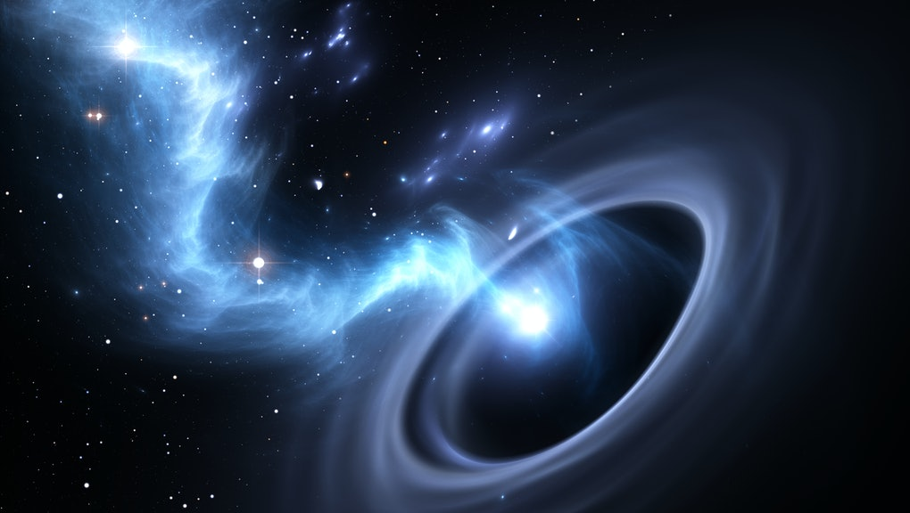 Stars and material falls into a black hole