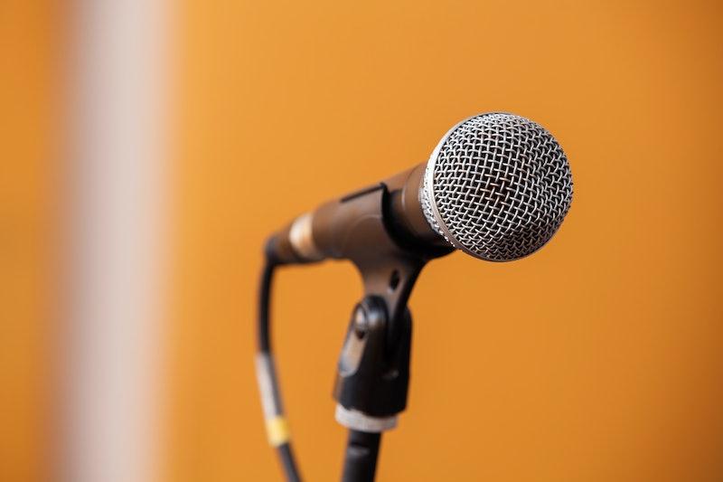 Closeup of microphone in recording studio