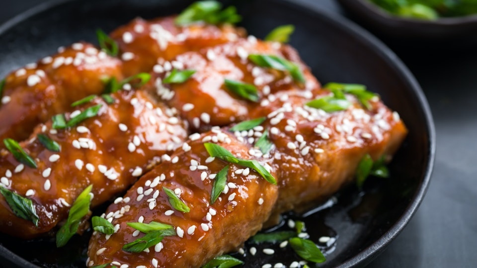 teriyaki salmon on a plate