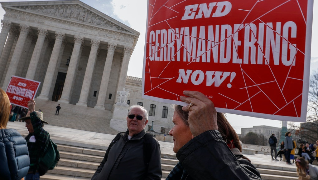 Protesters rally outside as Justices hear arguments in Benisek v. Lamone, the Maryland Gerrymandering case, at the Supreme Court in Washington, DC, USA, 28 March 2018. The U.S. Supreme Court is hearing its second case this term on whether it is unconstitutional for states to draw voting districts in a partisan manner?