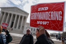 Protesters rally outside as Justices hear arguments in Benisek v. Lamone, the Maryland Gerrymanderin...