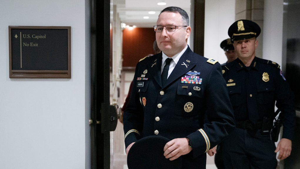 US Army Lieutenant Colonel Alexander Vindman (L), the top Ukraine expert on the National Security Council, arrives for a closed session before the House Intelligence, Foreign Affairs and Ov?ersight committees at the US Capitol in Washington, DC, USA, 29 October 2019. Lieutenant Colonel Vindman faces questions from the three congressional committees on a whistleblower's complaint that US President Donald J. Trump requested help from the President of Ukraine to investigate Joe Biden.