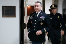 US Army Lieutenant Colonel Alexander Vindman (L), the top Ukraine expert on the National Security Co...