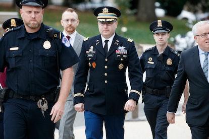 US Army Lieutenant Colonel Alexander Vindman (C), the top Ukraine expert on the National Security Co...
