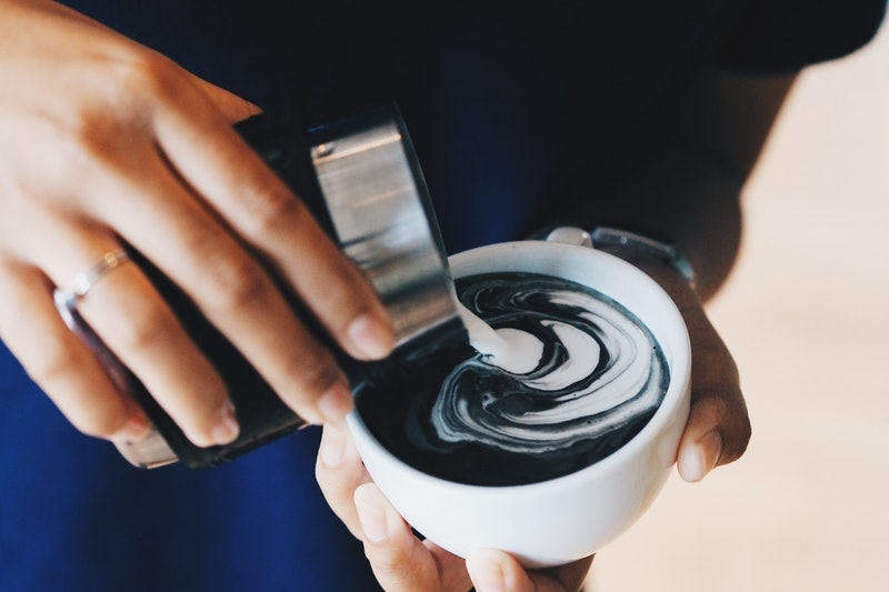 coffee charcoal  latte art by coffee master