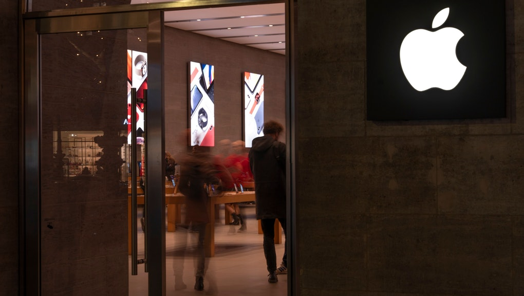 Customers visit the Apple store in Berlin, Germany, 20 December 2018. According to media reports the Munich district court had ruled on 20 December 2018 that Qualcomm had the option of stopping the sale of iPhones in the 7, 7 Plus, 8, 8 Plus series and to recall the X models that are already sold.