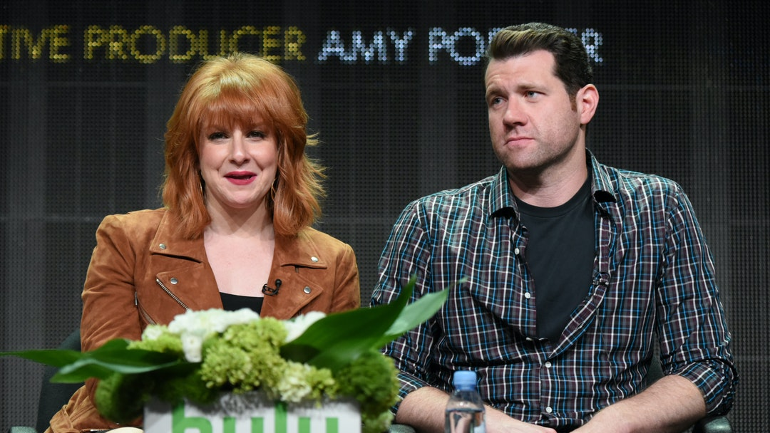 "Executive producer/writer/actor Julie Klausner, left, and Billy Eichner participate in the ""Difficult People"" panel at the Hulu Summer TCA Tour at the Beverly Hilton Hotel, in Beverly Hills, Calif"