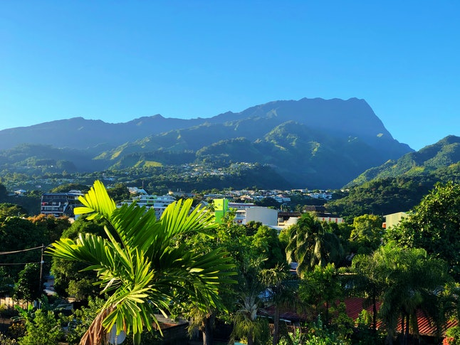 Early morning view of the mountains from Pape'ete, Tahiti, Society Islands, French Polynesia. Pape'ete is the capital city of French Polynesia.