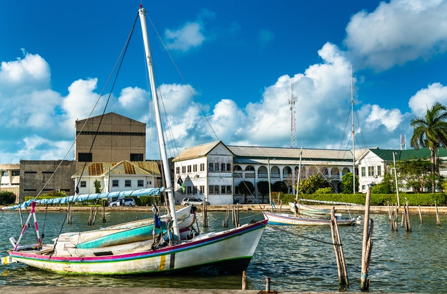 Yacht at Haulover Creek in the centre of Belize City, the largest city of Belize