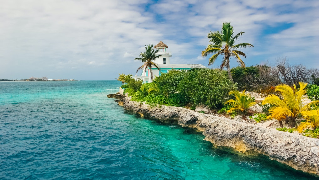 Exotic island, Pearl Island in the middle of the Ocean in Nassau, Bahamas.