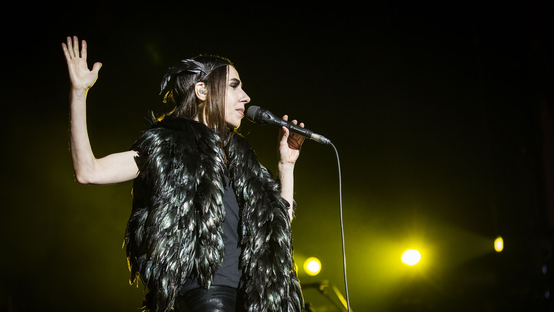 The English singer, musician, poet and songwriter PJ Harvey performs a live concert at the Danish music festival Roskilde Festival 2016