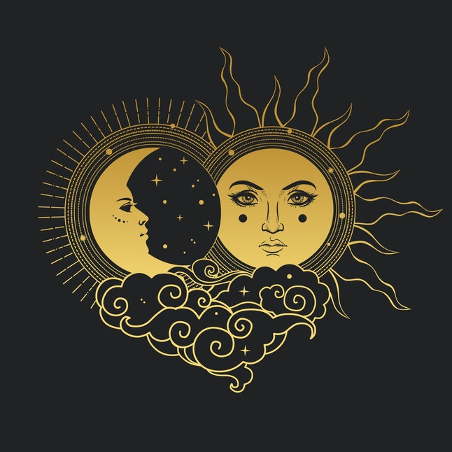 Moon and Sun, Day and Night. Vector hand drawn illustration