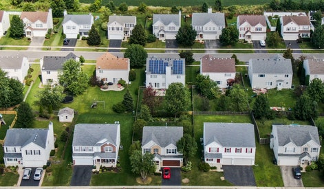 An aerial photo taken with a drone shows solar panels installed on a private home (C) in Round Lake Heights, Illinois, USA, 05 September 2019. The area in Lake County, Illinois, has committed to participate in the Greenest Region Compact, a collaboration for stainable communities that has been adopted by 127 communities in the Chicago area where more than 6 million people reside. The GRC is reportedly the largest regional sustainability collaborative in the country.