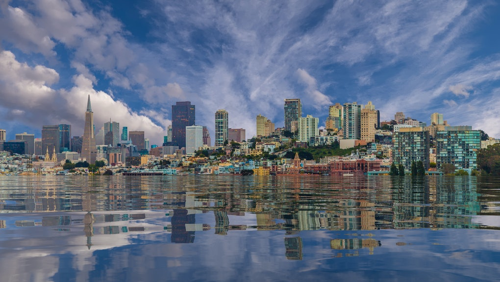 A view of San Francisco from the sea flooded from Global Warming and Climate Change