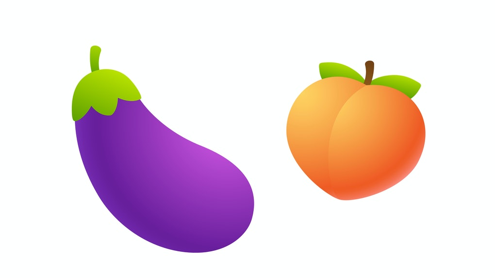 Cartoon eggplant and peach emoji icon. Funny symbolic representation of male and female sexual organs. Isolated vector clip art illustration.