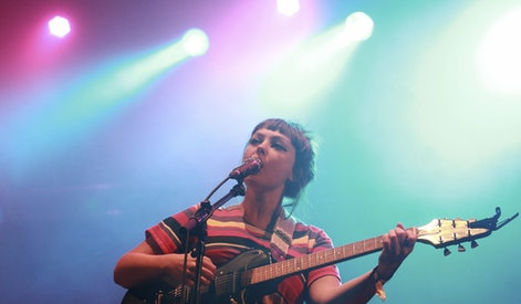 Us? Folk and Indie Rock Singer and Guitarist Angel Olsen Performs on Stage During Her Kutxa Kultur Festibala Concert at Igeldo Amusement Park in San Sebastian Basque Country Northern Spain on 04 September 2015 Spain San Sebastißn