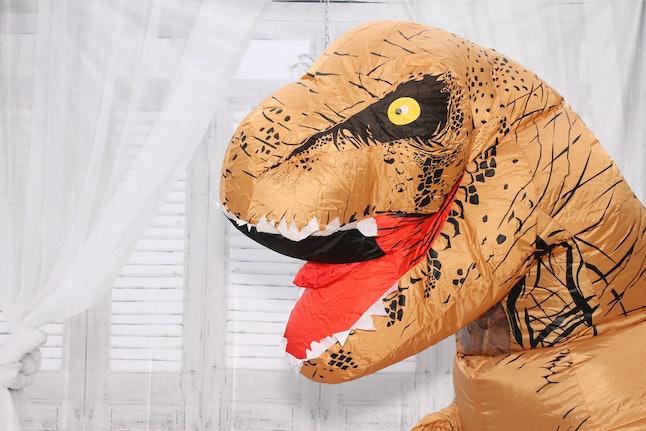 Dinosaurs are a popular Halloween costume.