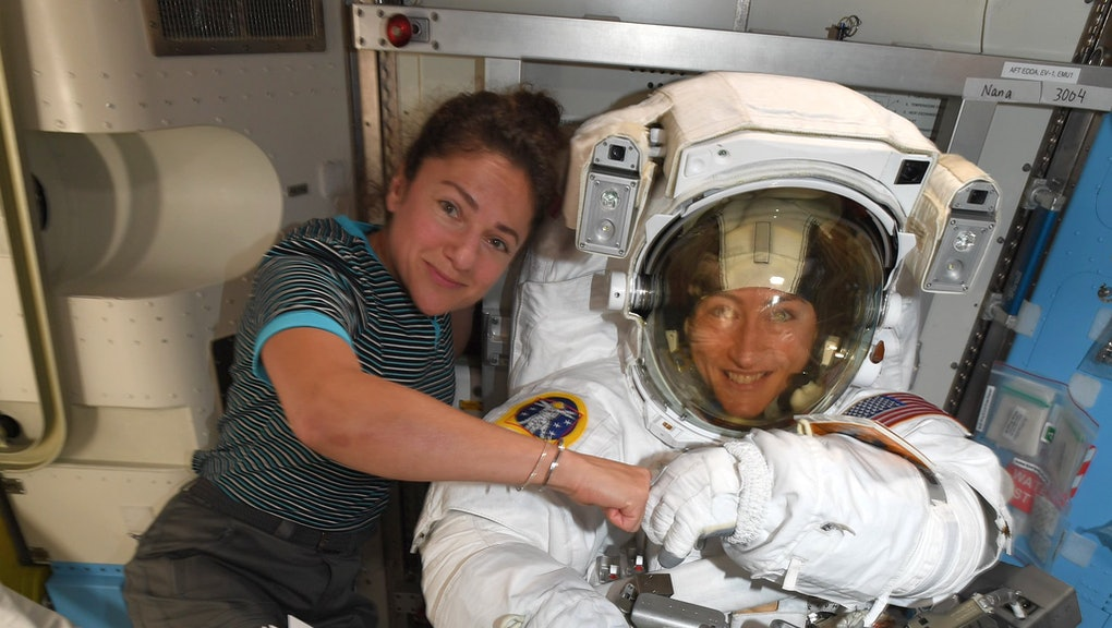 A handout photo released by NASA on 04 October 2019 shows astronauts Jessica Meir (L) and Christina Koch (R) posing on the International Space Station (ISS) in space (issued 06 October 2019). US space agency NASA on 04 October 2019 announced that Jessica Meir and Christina Koch will pair up for another attempt to the first all-female spacewalk scheduled for 21 October 2019. The first spacewalk attempt, which was scheduled for March 2019 with Christina Koch and Anne McClain, had to be cancelled for lack of correctly sized spacesuit availability.