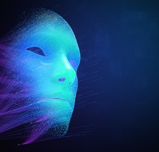 Artificial Intelligence abstract face created by neural network machine learning system, powered by big data, modern iot, DeepFake Virtual Assistant 3d illustration background