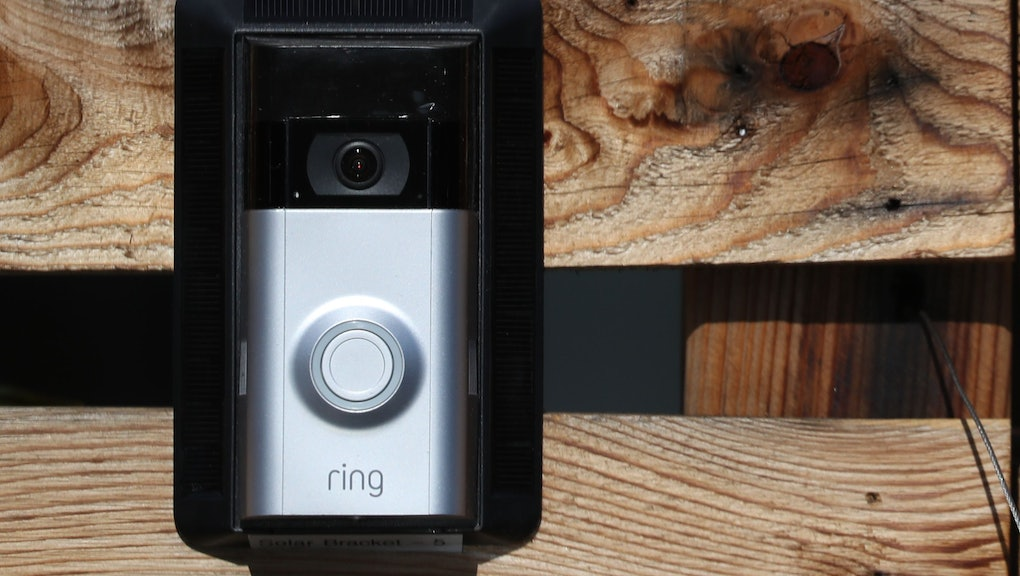 A Ring doorbell outside of Ring's offices in Santa Monica, California, USA, 27 February  2018. Amazon reported acquired the electronic door bell company Ring for more then $1 billion dollars