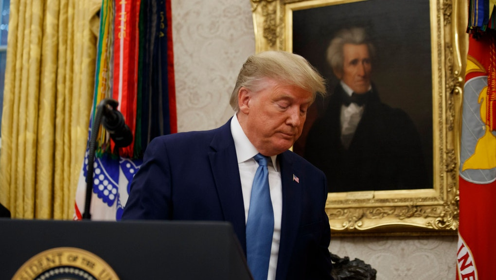 President Donald Trump departs after a ceremony to present the Presidential Medal of Freedom to former Attorney General Edwin Meese, in the Oval Office of the White House, in Washington