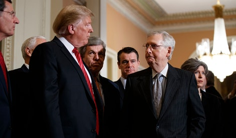 Donald Trump, Mitch McConnell. President Donald Trump talks to Senate Majority Leader Mitch McConnell of Ky., after a Senate Republican policy lunch on Capitol Hill, in Washington