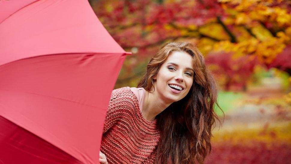 Autumn woman in autumn park