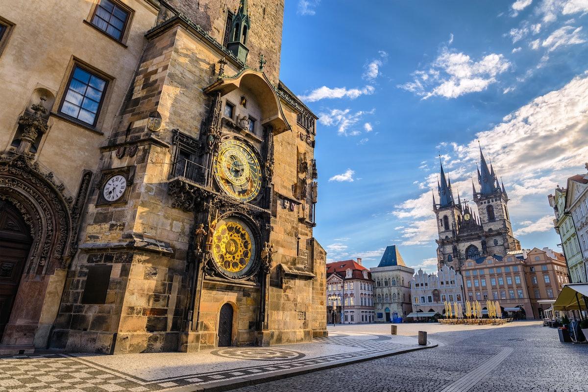 Prague Old Town Square Czech Republic, sunrise city skyline at Astronomical Clock Tower