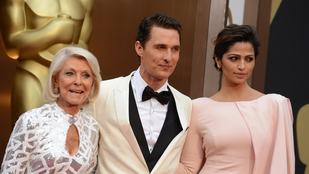 From left, Kay McCabe, Matthew McConaughey and Camila Alves arrive at the Oscars, at the Dolby Theatre in Los Angeles