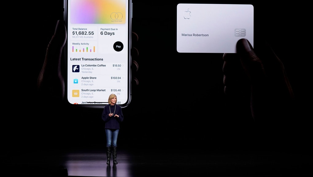 Jennifer Bailey, vice president of Apple Pay, speaks about the Apple Card at the Steve Jobs Theater in Cupertino, Calif. A spokeswoman for the New York Department of Financial Services confirmed that they are investigating Goldman Sachs for possible sex discrimination in the way it sets credit limits