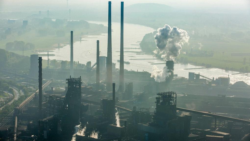 Steelworks ThyssenKrupp Steel, furnace on the Rhine, Schwelgern, Duisburg, Ruhr area, North Rhine-Westphalia, Germany