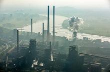Steelworks ThyssenKrupp Steel, furnace on the Rhine, Schwelgern, Duisburg, Ruhr area, North Rhine-We...