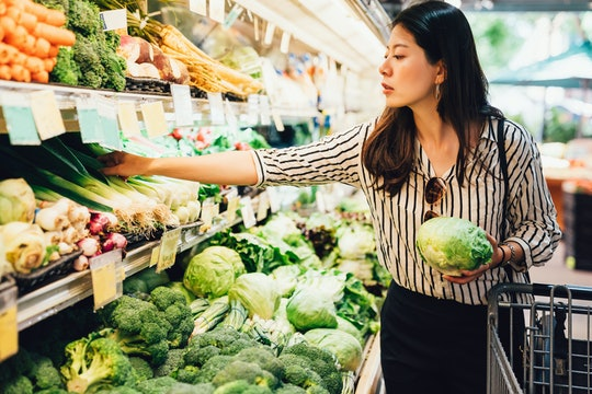 woman grocery shopping for Thanksgiving dinner