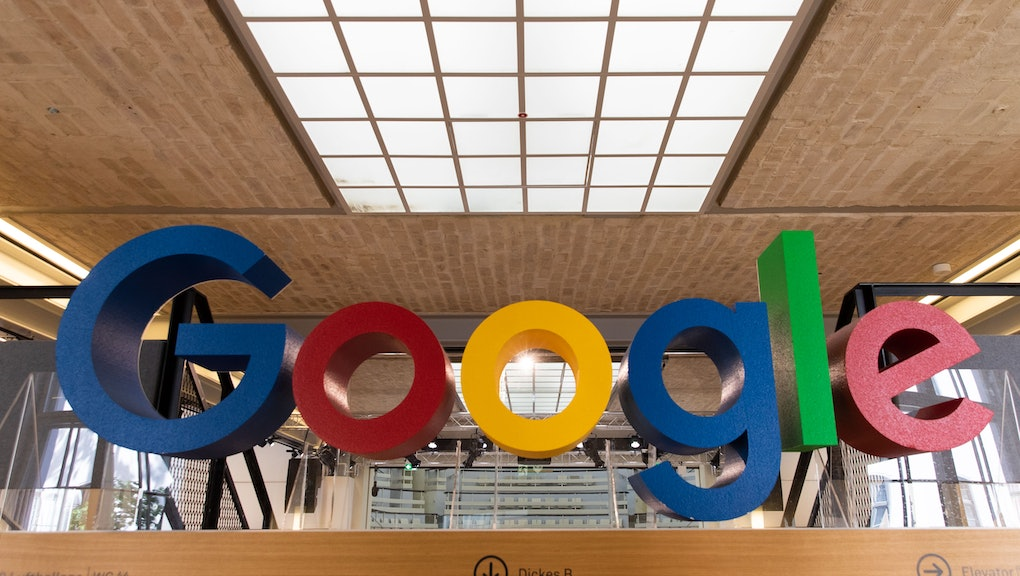A Google logo is displayed at the Google offices in Berlin, Germany, 24 June 2019.
