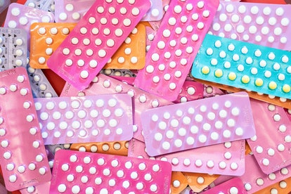 Many kind of contraceptive brand, colorful of birth control pills for women. One myth about birth co...