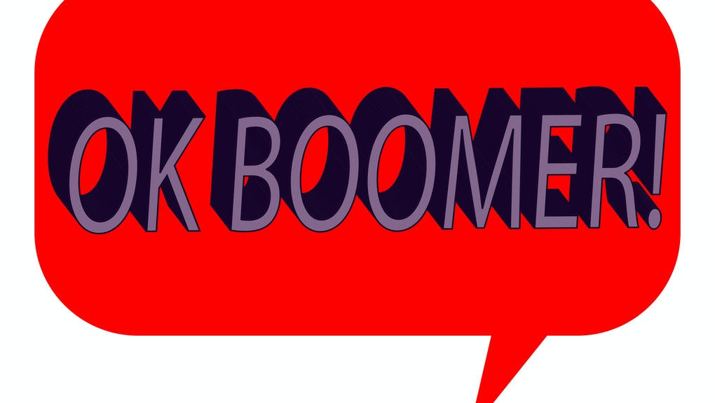 A talk bubble with the phrase Ok Boomer.