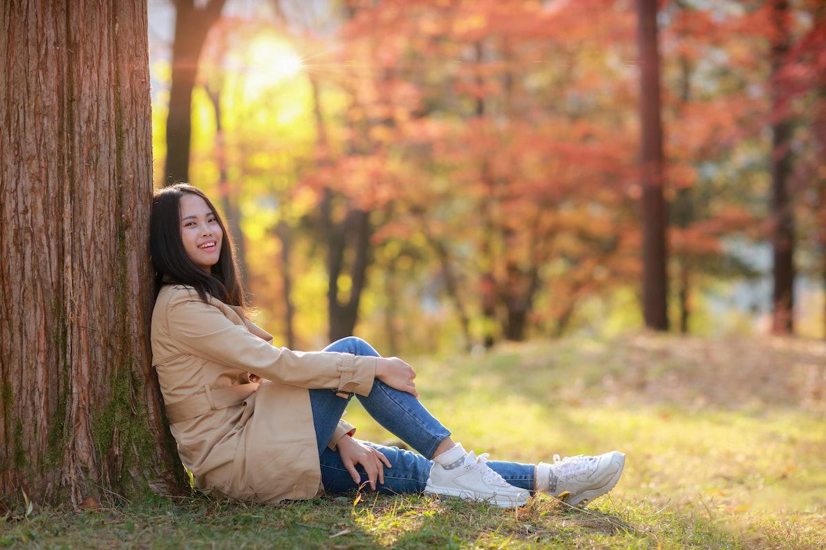 Young Girl in Autumn at Park Nami island South Korea