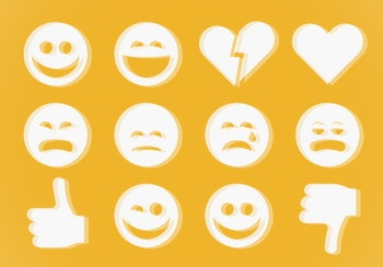 Emoji icons set with smiling face, thumbs up and heart with glitch style for modern social network
