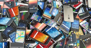 Choose mobile phone. Heap of the different smartphones with different application on the screen. Mod...