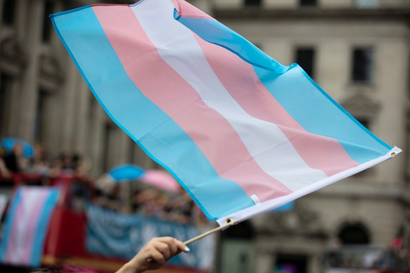 A transgender flag being waved at LGBT gay pride march