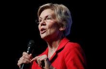 Democratic presidential candidate Sen. Elizabeth Warren, D-Mass., speaks during a fundraiser for the...