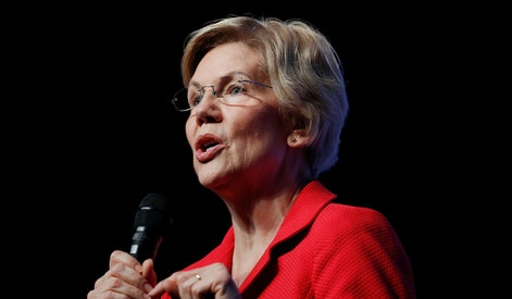 Democratic presidential candidate Sen. Elizabeth Warren, D-Mass., speaks during a fundraiser for the Nevada Democratic Party in Las Vegas. Warren has released a proposal to combat white nationalism that includes making prosecuting crimes committed by hate groups a top priority for the departments of Justice and Homeland Security