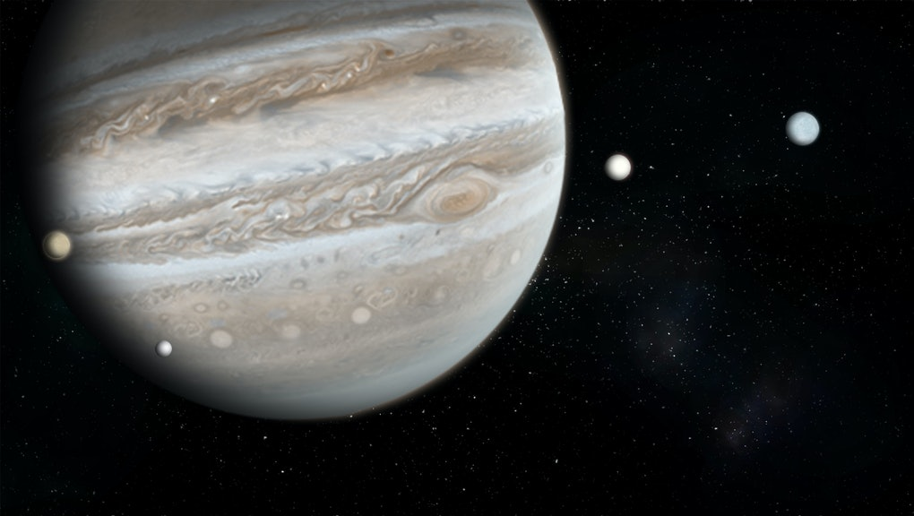 planet Jupiter with 4 of the 69 known moons with the Milky Way galaxy 3d space illustration.