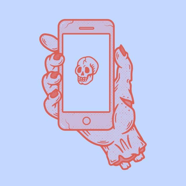 PHONE IN ZOMBIE HAND SKULL GRUNGE TEXTURE WHITE BACKGROUND