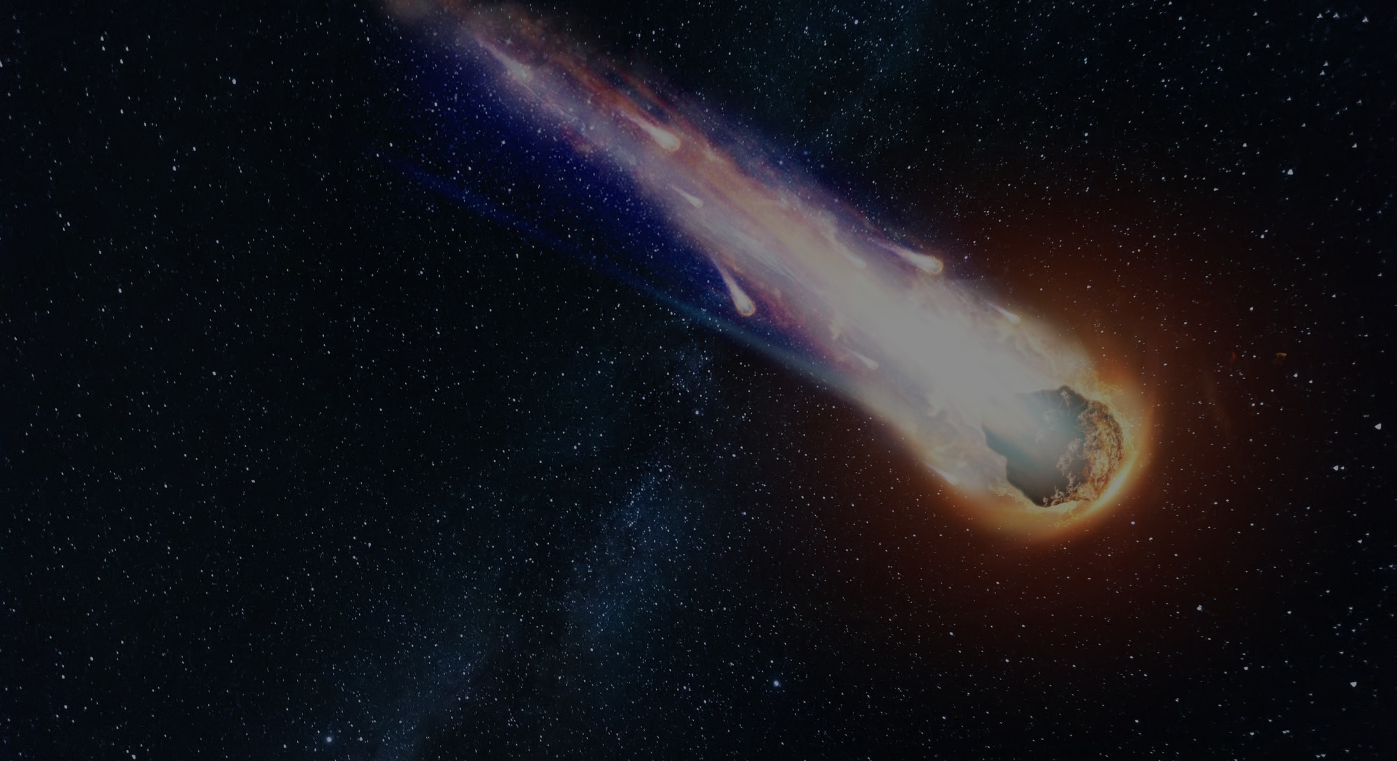 A comet, an asteroid, a meteorite falls to the ground against a starry sky. Attack of the meteorite....