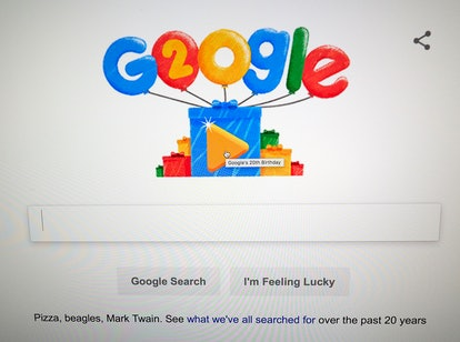 Google Doodles celebrates the search engine's 20th Anniversary as seen on the home page in Mountain ...