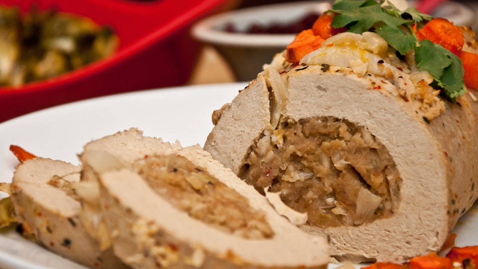 Tofurky roast on a plate