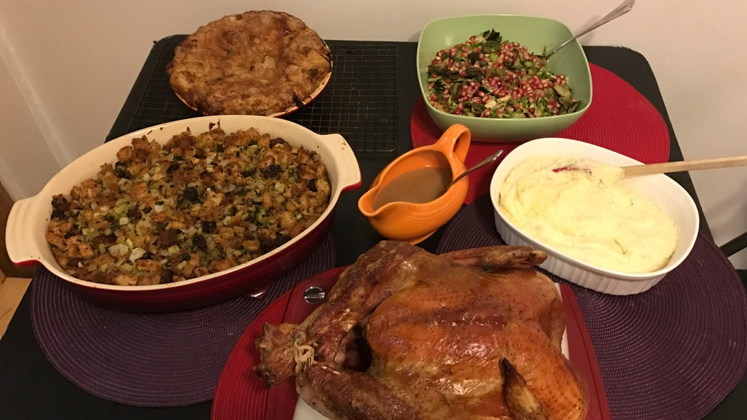 This, photo shows food from a Thanksgiving dinner from Martha & Marley Spoon in New York. For $120, ...