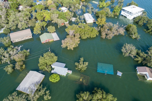 Aerial view of flooding.